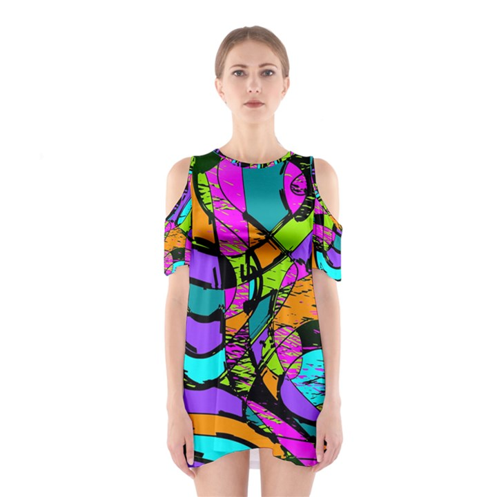 Abstract Sketch Art Squiggly Loops Multicolored Cutout Shoulder Dress