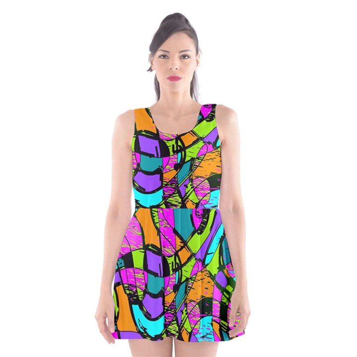 Abstract Sketch Art Squiggly Loops Multicolored Scoop Neck Skater Dress