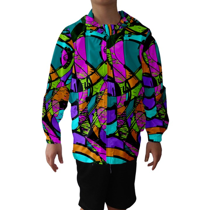 Abstract Sketch Art Squiggly Loops Multicolored Hooded Wind Breaker (Kids)