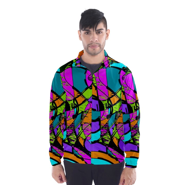 Abstract Sketch Art Squiggly Loops Multicolored Wind Breaker (Men)
