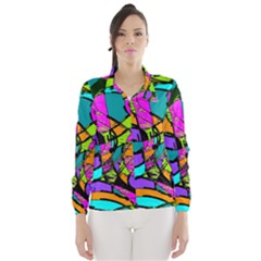 Abstract Sketch Art Squiggly Loops Multicolored Wind Breaker (women)