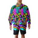 Abstract Sketch Art Squiggly Loops Multicolored Wind Breaker (Kids) View1