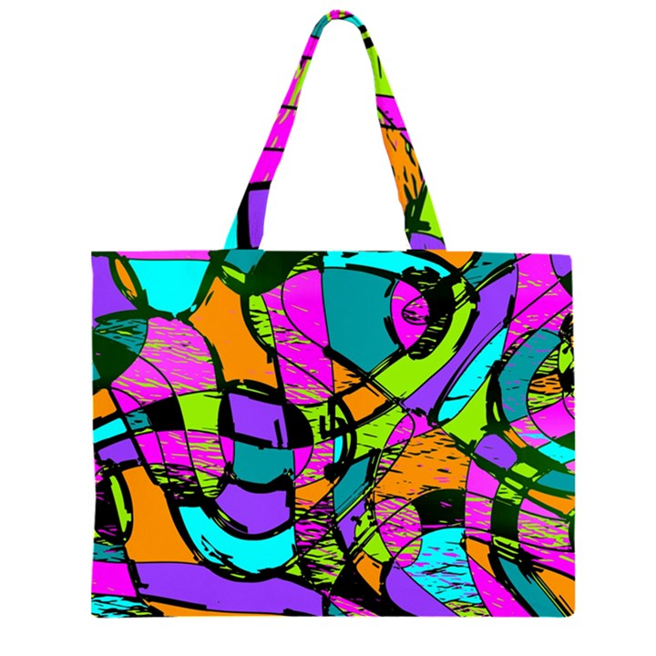 Abstract Sketch Art Squiggly Loops Multicolored Large Tote Bag