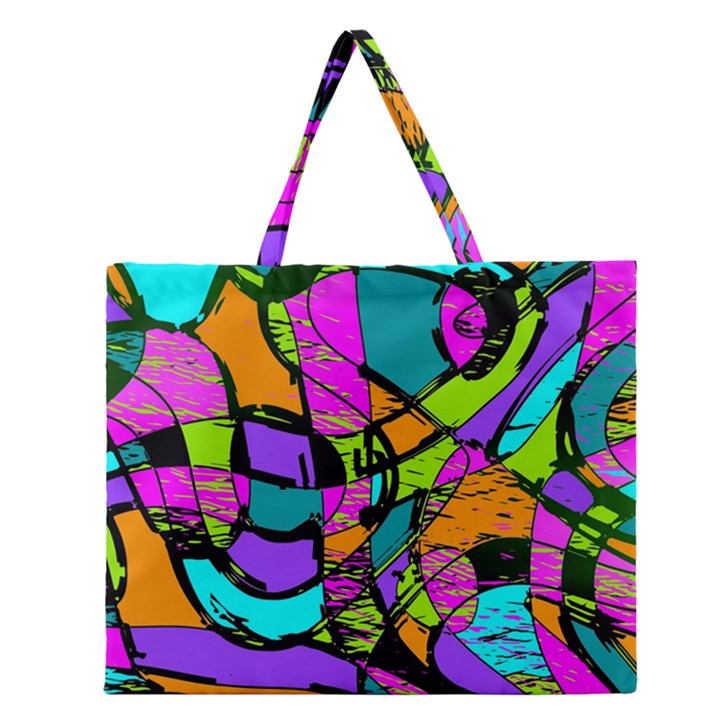 Abstract Sketch Art Squiggly Loops Multicolored Zipper Large Tote Bag