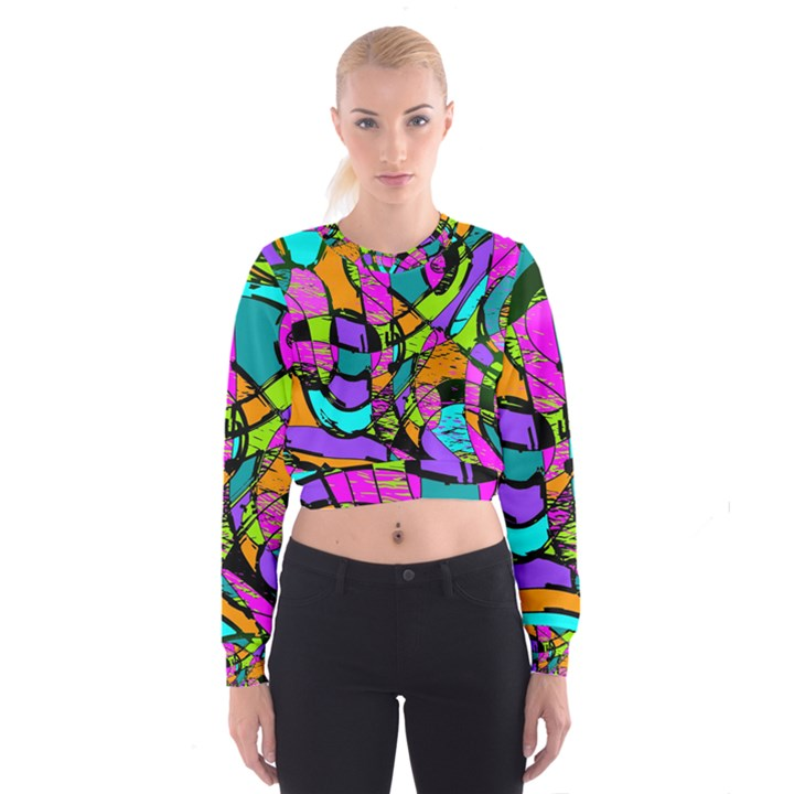 Abstract Sketch Art Squiggly Loops Multicolored Women s Cropped Sweatshirt