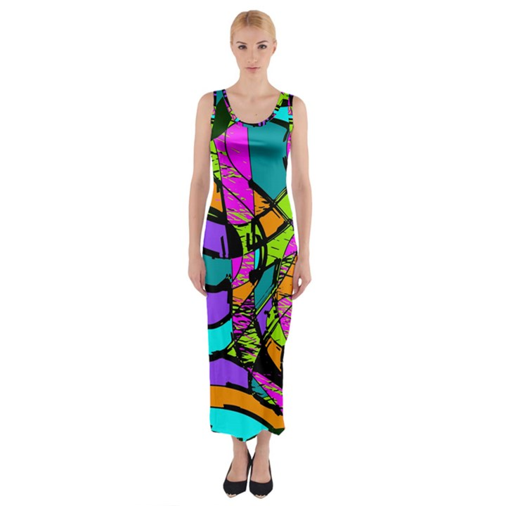 Abstract Sketch Art Squiggly Loops Multicolored Fitted Maxi Dress