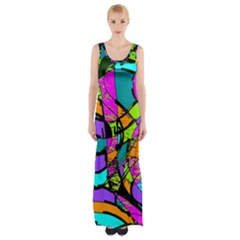 Abstract Sketch Art Squiggly Loops Multicolored Maxi Thigh Split Dress