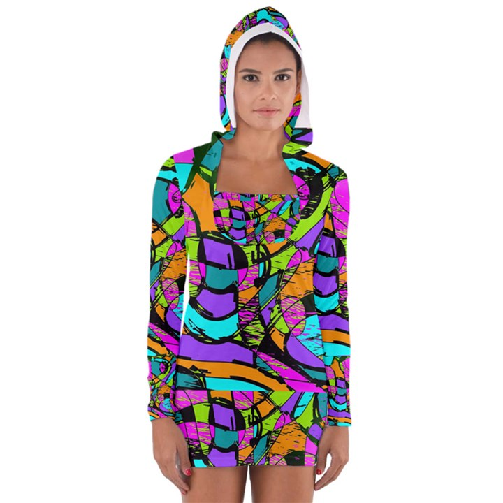 Abstract Sketch Art Squiggly Loops Multicolored Women s Long Sleeve Hooded T-shirt