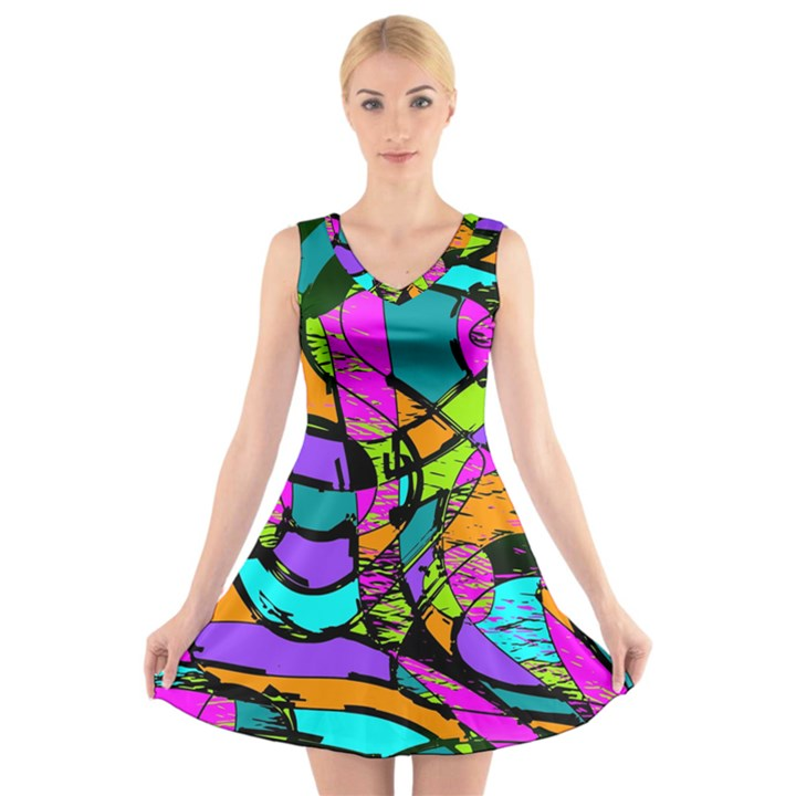 Abstract Sketch Art Squiggly Loops Multicolored V-Neck Sleeveless Skater Dress
