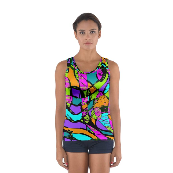 Abstract Sketch Art Squiggly Loops Multicolored Women s Sport Tank Top
