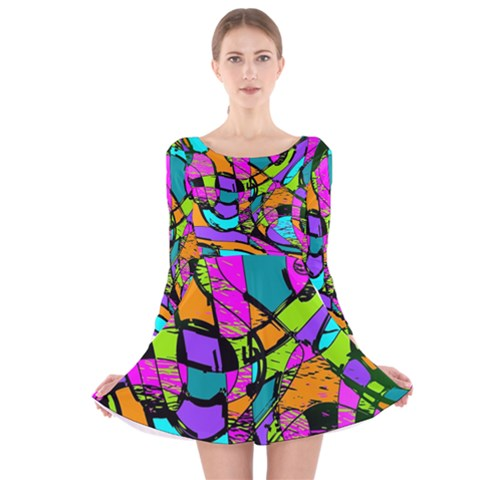 Abstract Sketch Art Squiggly Loops Multicolored Long Sleeve Velvet Skater Dress