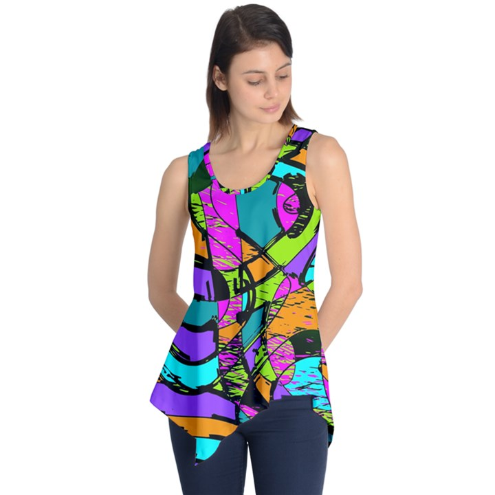Abstract Sketch Art Squiggly Loops Multicolored Sleeveless Tunic