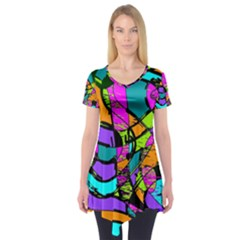 Abstract Sketch Art Squiggly Loops Multicolored Short Sleeve Tunic