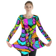 Abstract Sketch Art Squiggly Loops Multicolored Long Sleeve Tunic