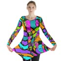 Abstract Sketch Art Squiggly Loops Multicolored Long Sleeve Tunic  View1