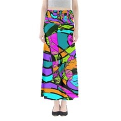 Abstract Sketch Art Squiggly Loops Multicolored Maxi Skirts