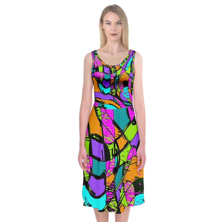 Abstract Sketch Art Squiggly Loops Multicolored Midi Sleeveless Dress