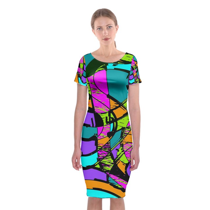 Abstract Sketch Art Squiggly Loops Multicolored Classic Short Sleeve Midi Dress