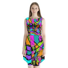 Abstract Sketch Art Squiggly Loops Multicolored Sleeveless Chiffon Dress