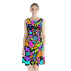 Abstract Sketch Art Squiggly Loops Multicolored Sleeveless Chiffon Waist Tie Dress