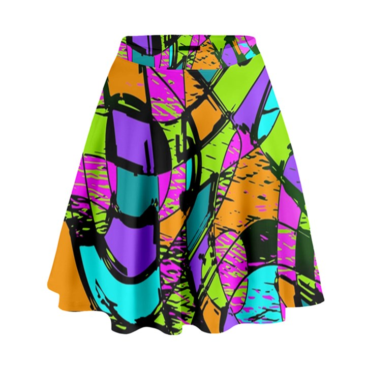 Abstract Sketch Art Squiggly Loops Multicolored High Waist Skirt