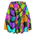 Abstract Sketch Art Squiggly Loops Multicolored High Waist Skirt View2