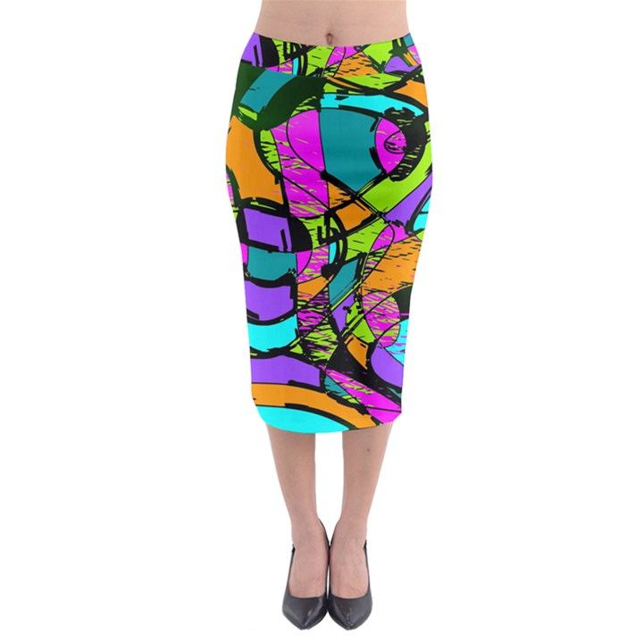 Abstract Sketch Art Squiggly Loops Multicolored Midi Pencil Skirt