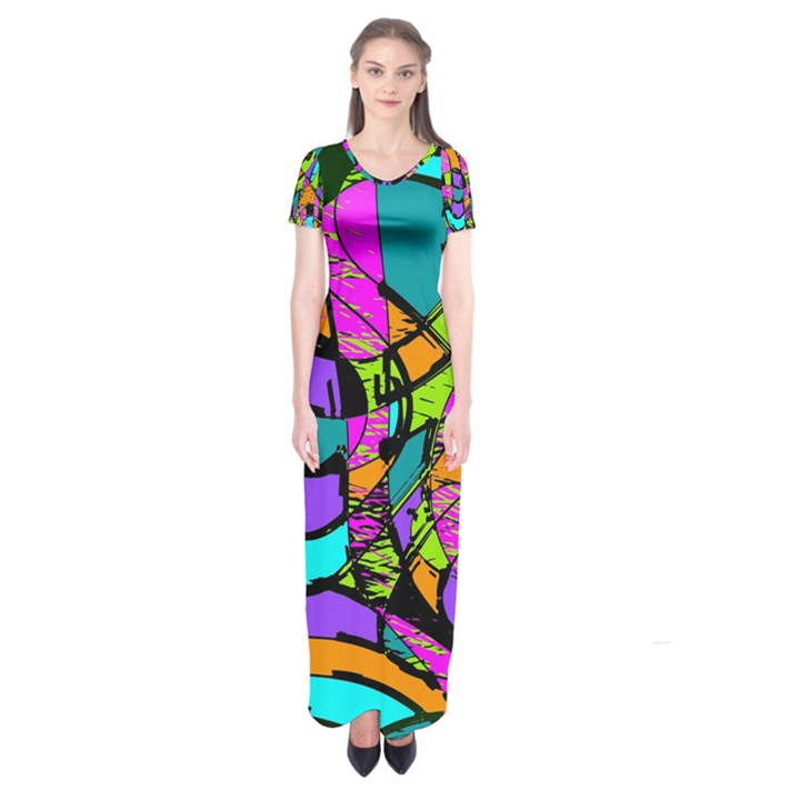 Abstract Sketch Art Squiggly Loops Multicolored Short Sleeve Maxi Dress