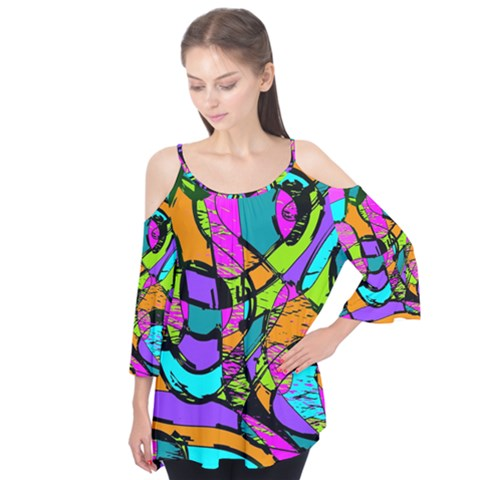Abstract Sketch Art Squiggly Loops Multicolored Flutter Tees