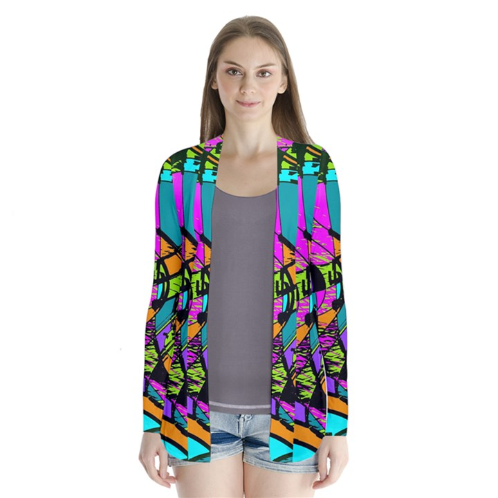 Abstract Sketch Art Squiggly Loops Multicolored Drape Collar Cardigan