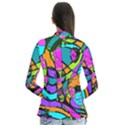 Abstract Sketch Art Squiggly Loops Multicolored Drape Collar Cardigan View2