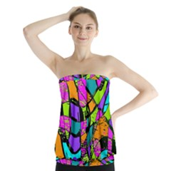 Abstract Sketch Art Squiggly Loops Multicolored Strapless Top