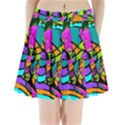 Abstract Sketch Art Squiggly Loops Multicolored Pleated Mini Skirt View1