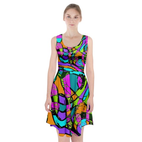 Abstract Sketch Art Squiggly Loops Multicolored Racerback Midi Dress