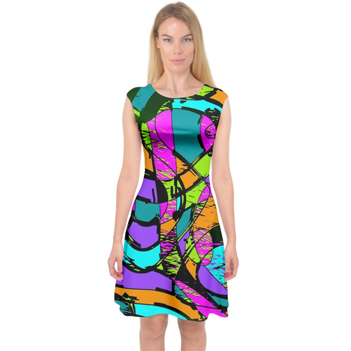 Abstract Sketch Art Squiggly Loops Multicolored Capsleeve Midi Dress