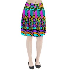 Abstract Sketch Art Squiggly Loops Multicolored Pleated Skirt