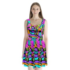 Abstract Sketch Art Squiggly Loops Multicolored Split Back Mini Dress