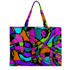 Abstract Sketch Art Squiggly Loops Multicolored Medium Zipper Tote Bag