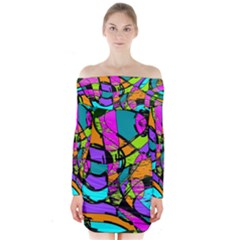 Abstract Sketch Art Squiggly Loops Multicolored Long Sleeve Off Shoulder Dress