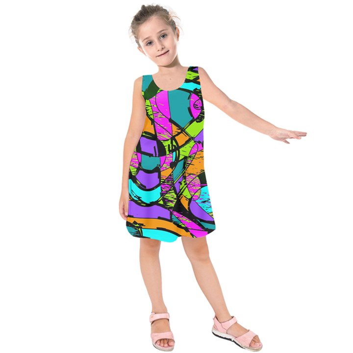 Abstract Sketch Art Squiggly Loops Multicolored Kids  Sleeveless Dress