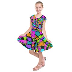 Abstract Sketch Art Squiggly Loops Multicolored Kids  Short Sleeve Dress