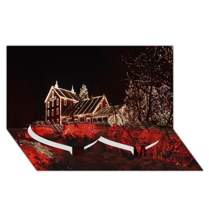 Clifton Mill Christmas Lights Twin Heart Bottom 3D Greeting Card (8x4)