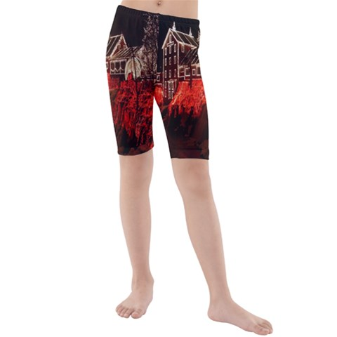 Clifton Mill Christmas Lights Kids  Mid Length Swim Shorts