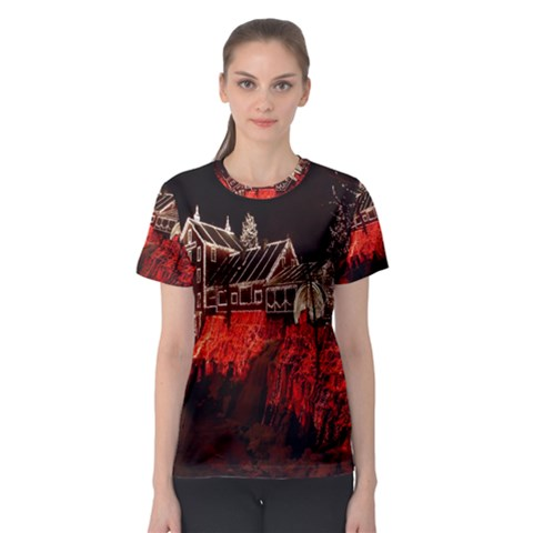Clifton Mill Christmas Lights Women s Sport Mesh Tee