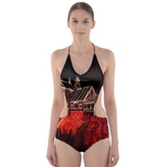 Clifton Mill Christmas Lights Cut-Out One Piece Swimsuit