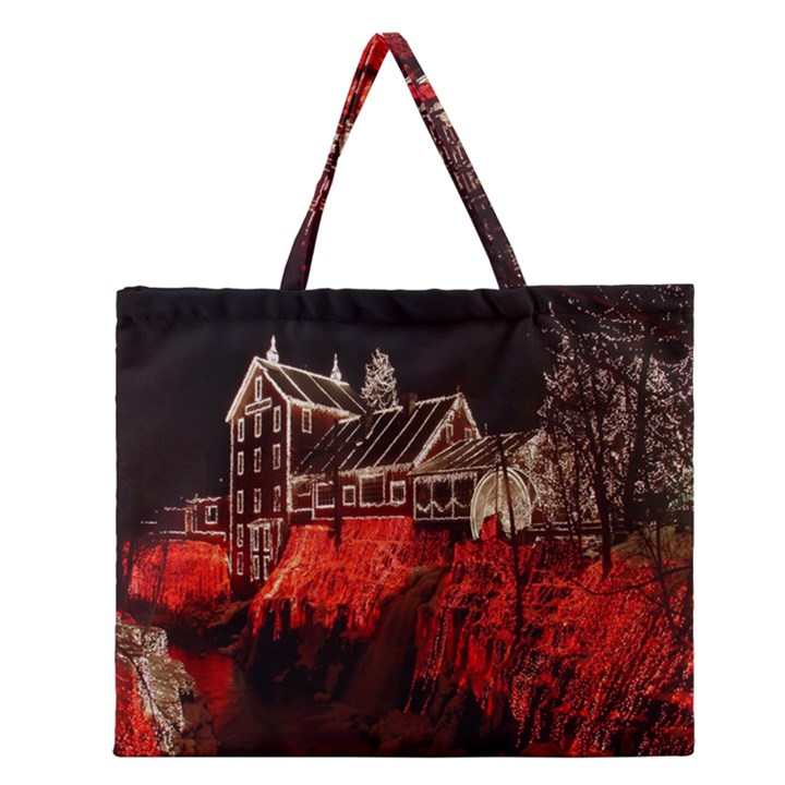 Clifton Mill Christmas Lights Zipper Large Tote Bag