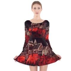 Clifton Mill Christmas Lights Long Sleeve Velvet Skater Dress