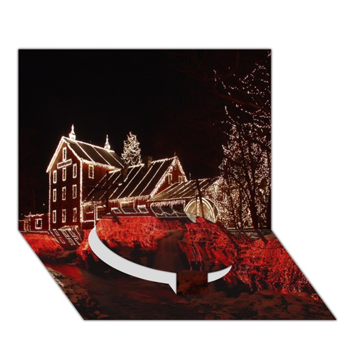 Clifton Mill Christmas Lights Circle Bottom 3D Greeting Card (7x5)