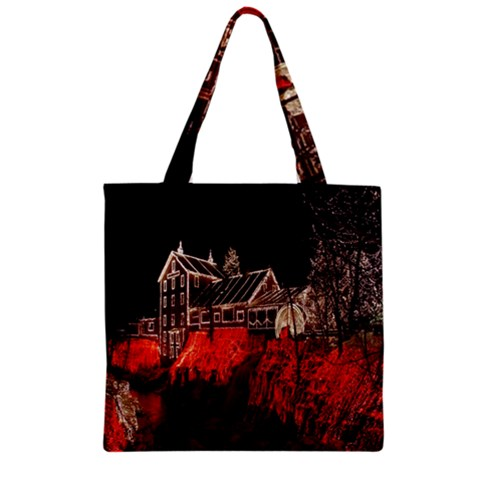 Clifton Mill Christmas Lights Zipper Grocery Tote Bag