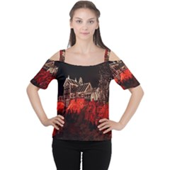 Clifton Mill Christmas Lights Women s Cutout Shoulder Tee